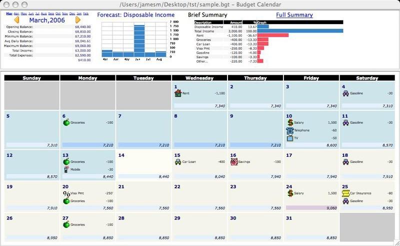 Budget Calendar for Mac