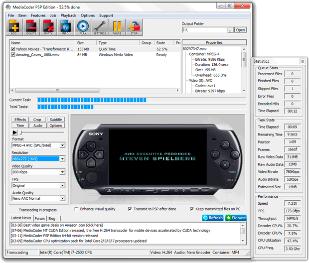 MediaCoder PSP Edition x64 0.7.5 B5353