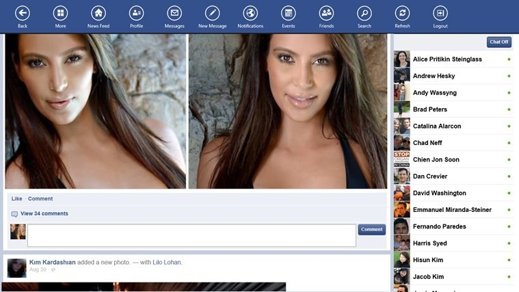 Facebook Touch for Win8 UI