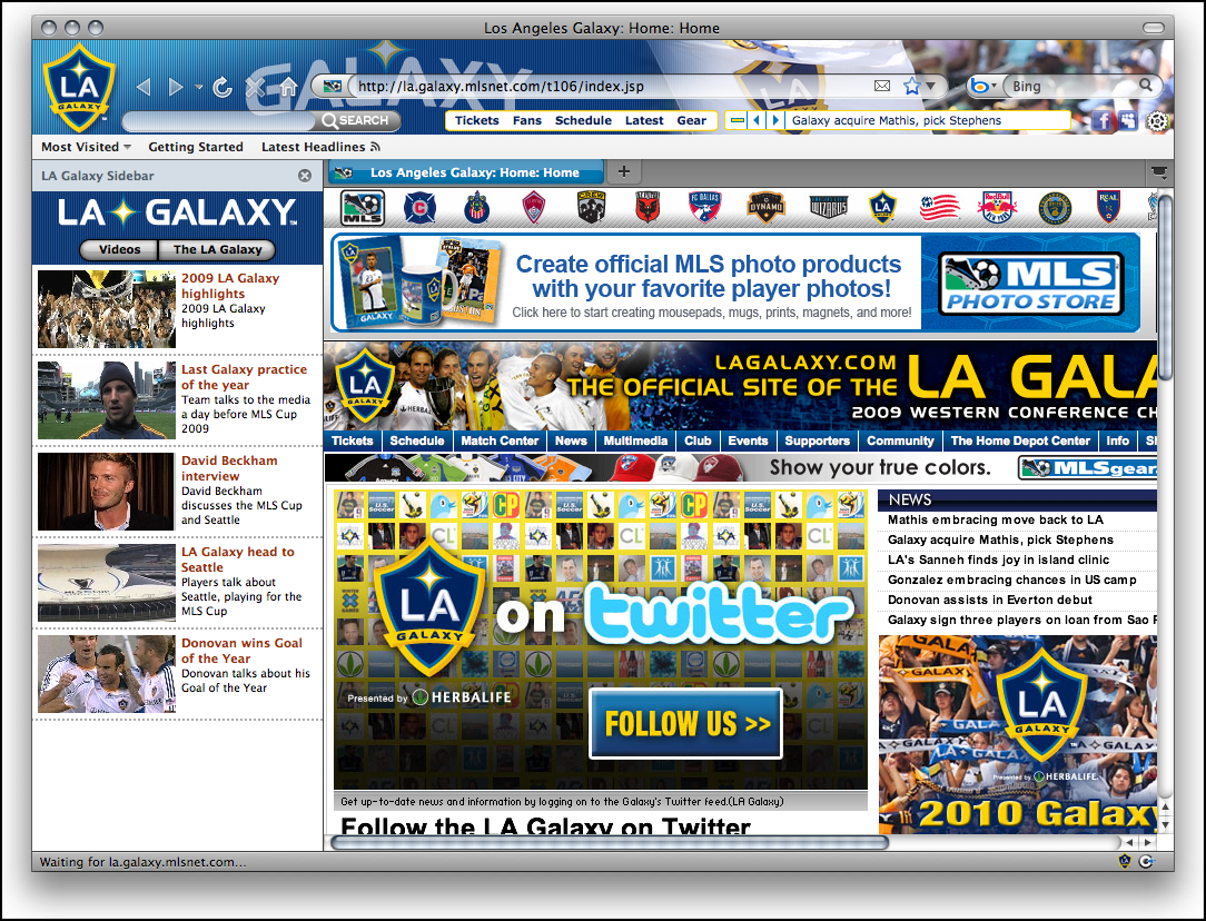 LA Galaxy MLS Soccer Firefox Theme