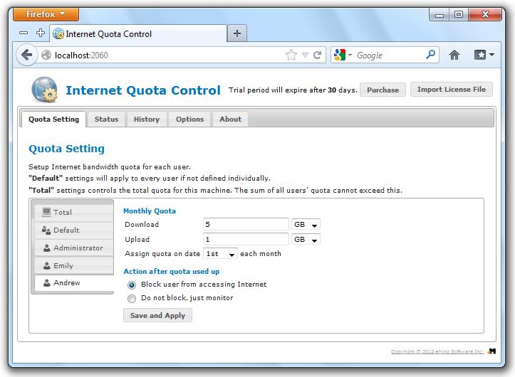 Internet Quota Control