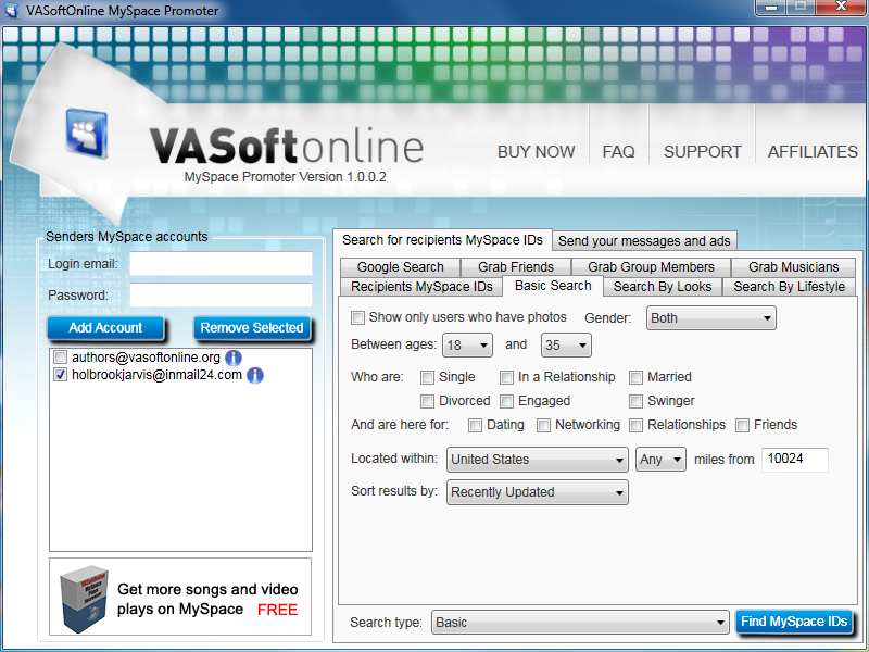 VASoftOnline MySpace Promoter