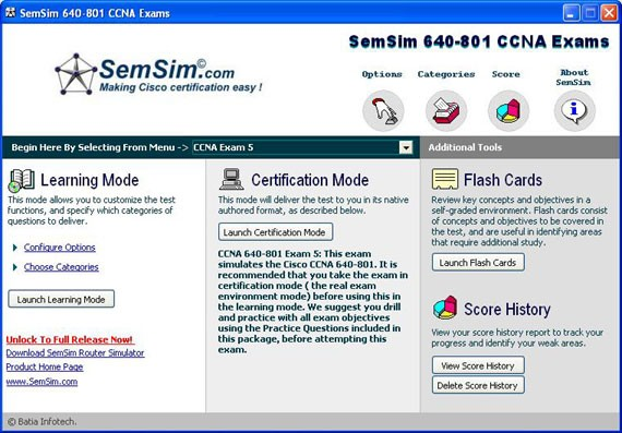 SemSim 640-801 CCNA Practice Exams