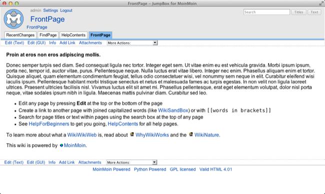 JumpBox for the MoinMoin Wiki Software