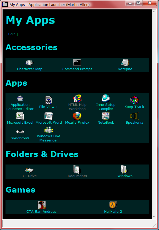 Application Launcher (and Editor)