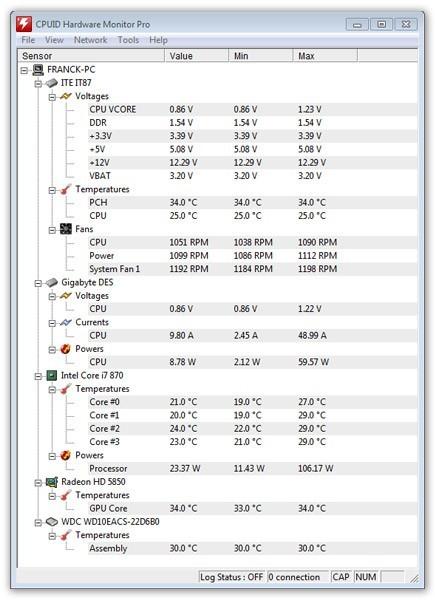 HWMonitor Pro (64-bit) screenshot