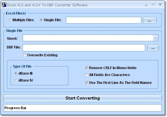Download free Excel XLS and XLSX To DBF Converter Software