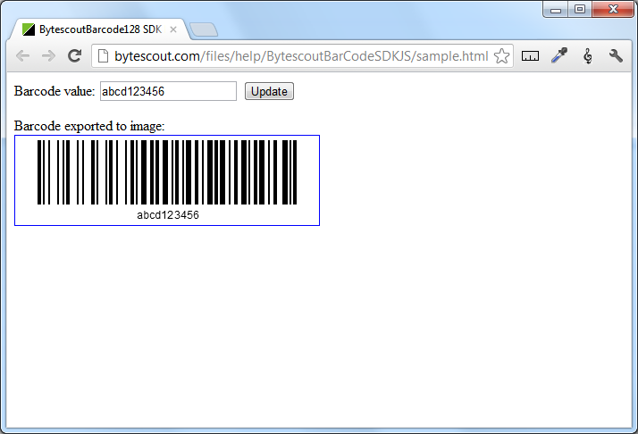 BarCode Generator SDK JS for Code 128