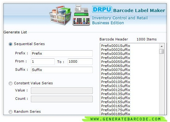 Generate Inventory Barcode