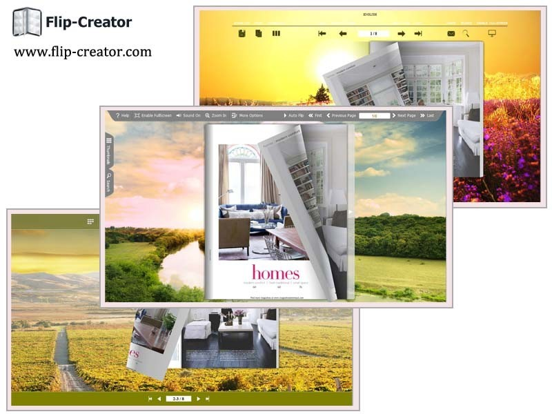Grassland Theme for Page Flip Book