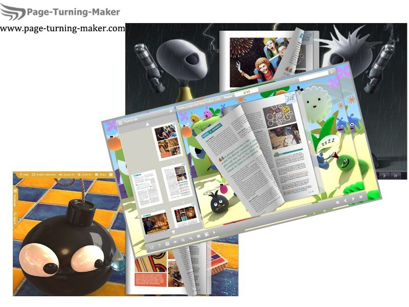 3D Cartoon Theme for Page Turning Book