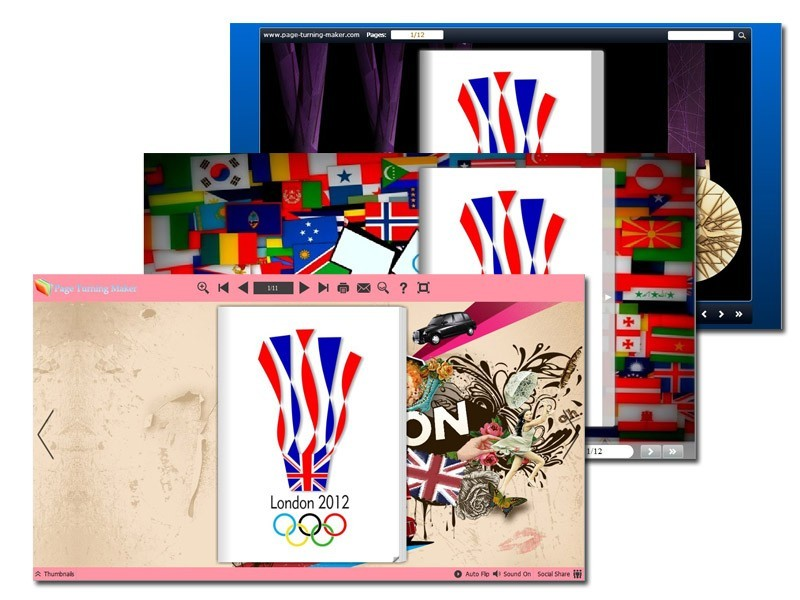 Page Turning Book Theme for 2012 Summer Olympics Game