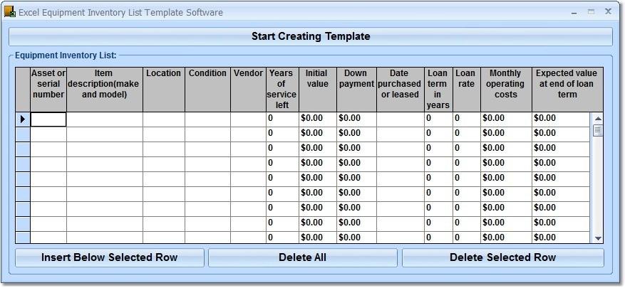 rental equipment inventory checklist template