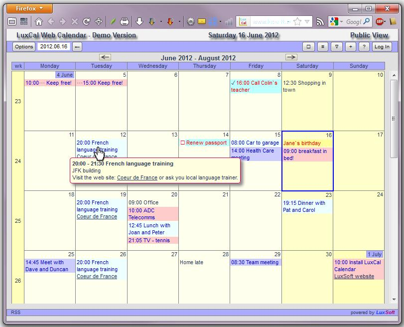 LuxCal Web Based Event Calendar