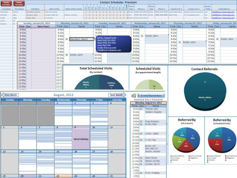 download free excel contact appointment scheduler by excel 4
