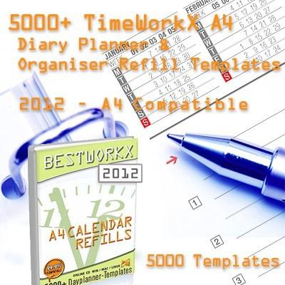 TimeWorkX Organiser Refill Templates A4 A4-UK-AU-2012