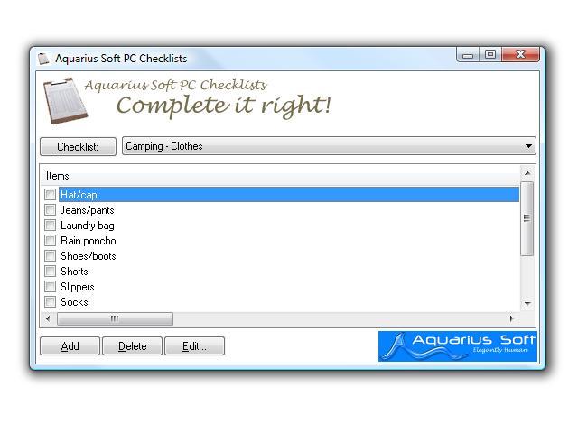 Aquarius Soft PC Checklists