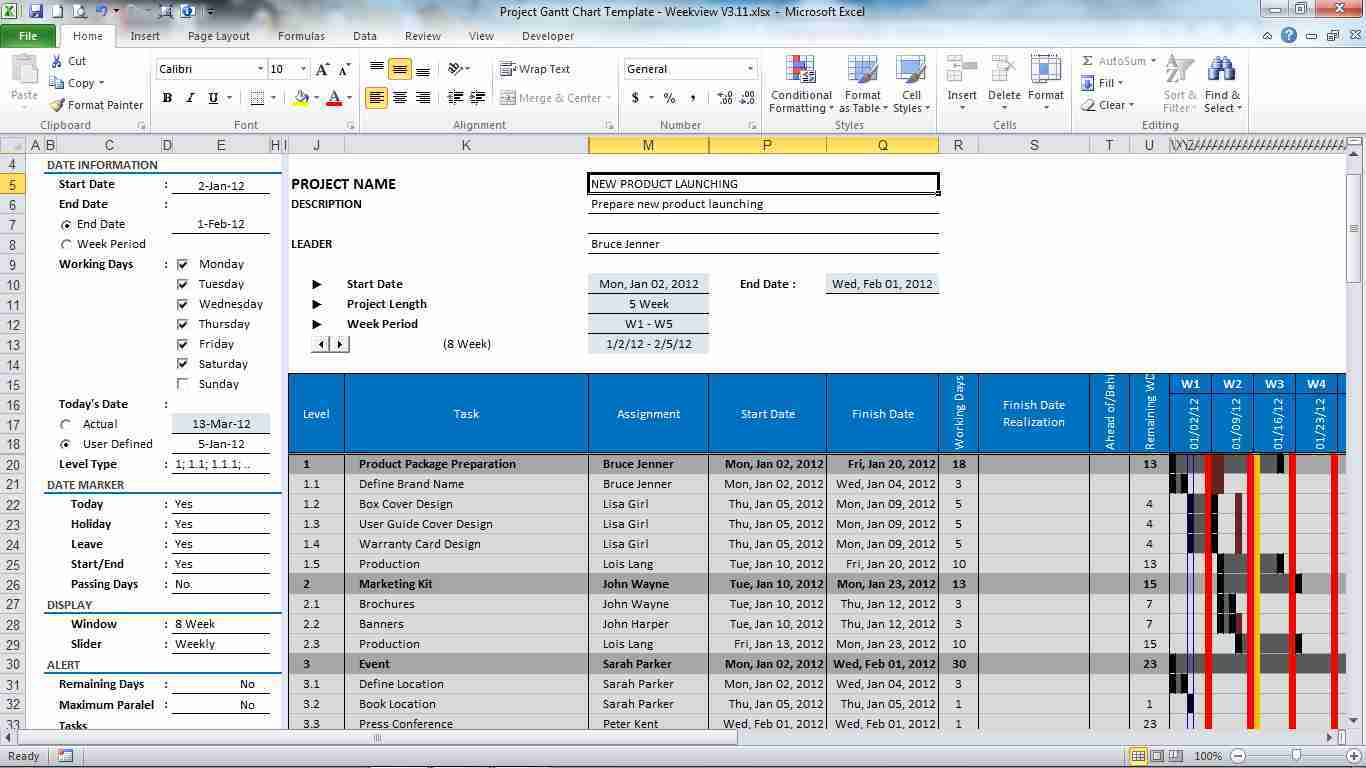 Download Free Gantt Chart Project Plan Excel Template By