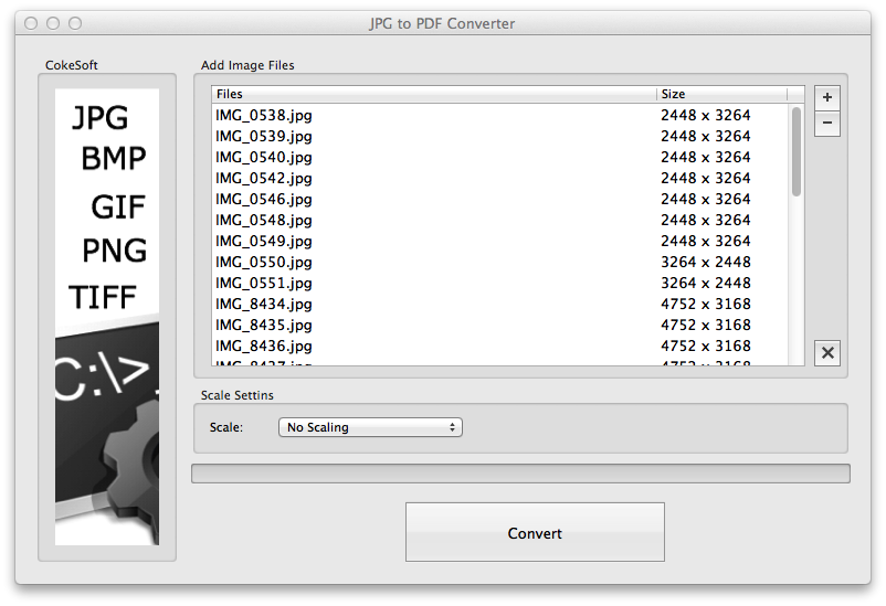 CokeSoft JPG to PDF Converter for Mac