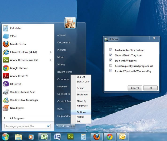 Windows Start Menu ViStart