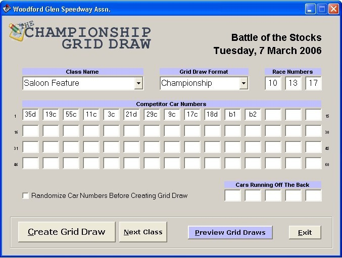 Championship Grid Draw