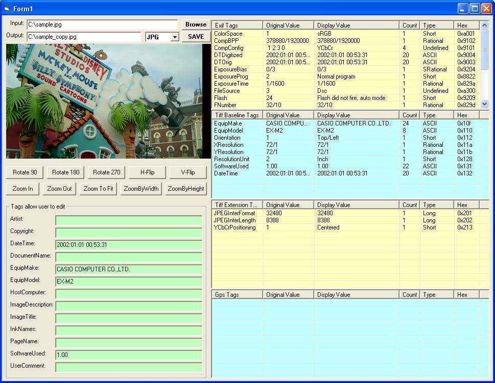 X360 Exif Tag Viewer ActiveX OCX (Twice Developer)
