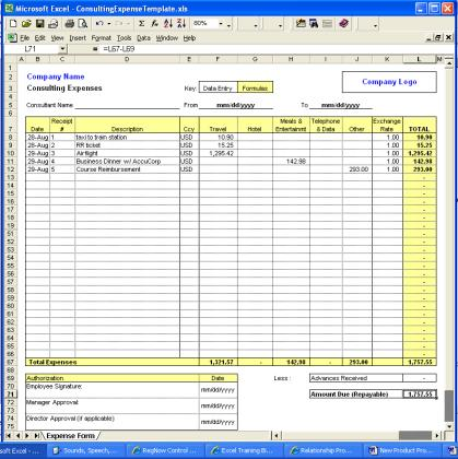 Printables Expenses Worksheet Excel expense spreadsheet free software download consulting excel template v1 v v1