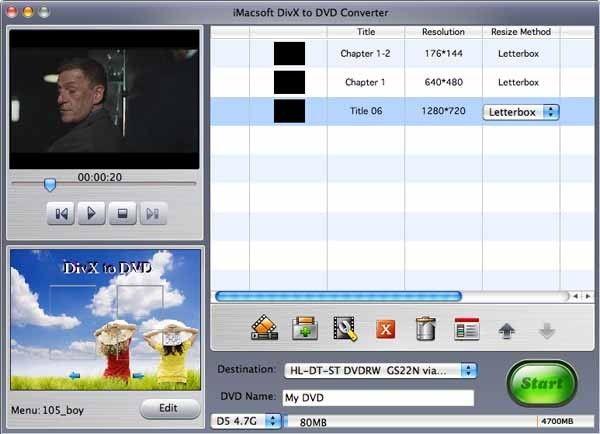 IMacsoft DivX to DVD Converter for Mac