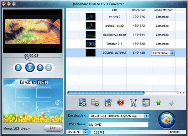 Joboshare DivX to DVD Converter for Mac