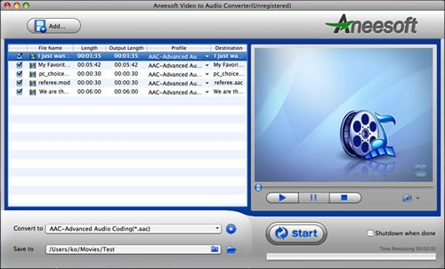 Aneesoft Video to Audio Converter for Mac