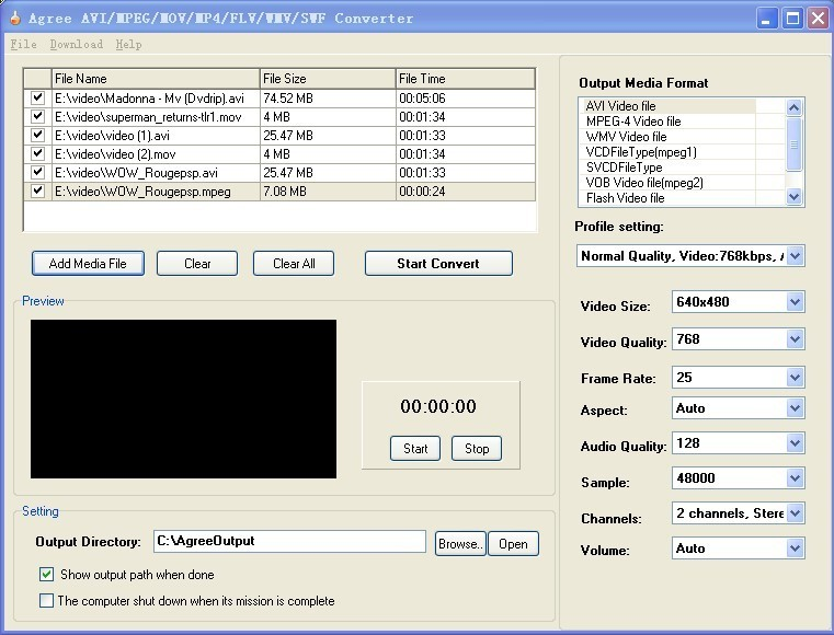 Agree AVI MPEG MOV MP4 FLV WMV Converter
