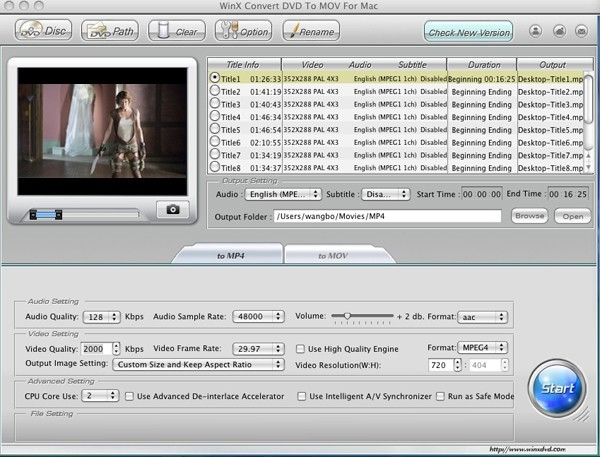 WinX Convert DVD to MOV for Mac
