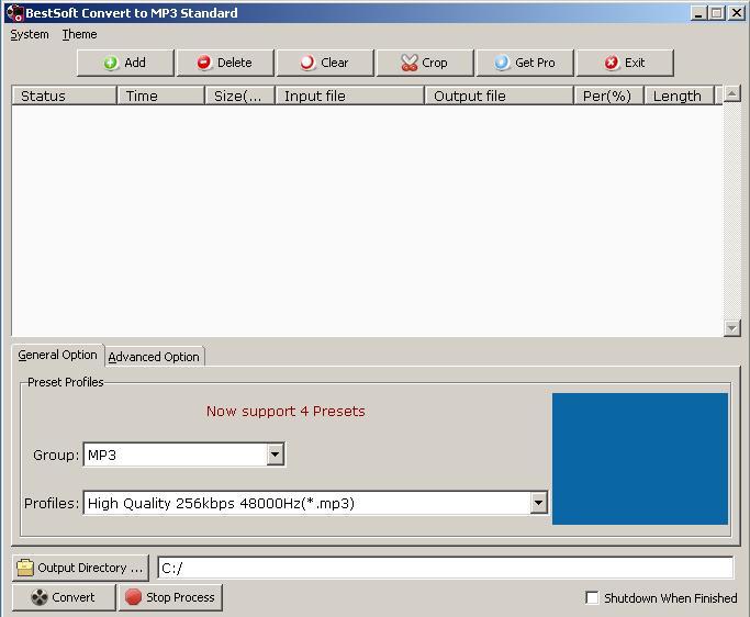 BestSoft Convert to MP3 Standard