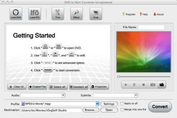 DVD to Palm Converter for Mac