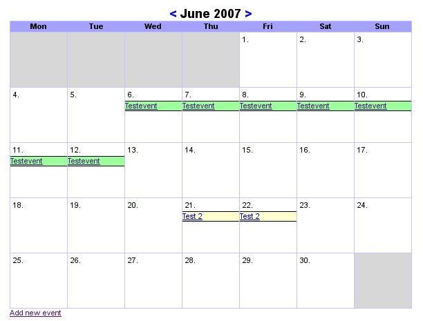 Lightweight club calendar
