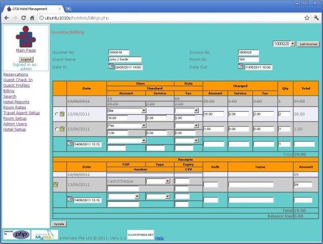 Download free OTA Hotel Management by otahotel sourceforge net v 0 4