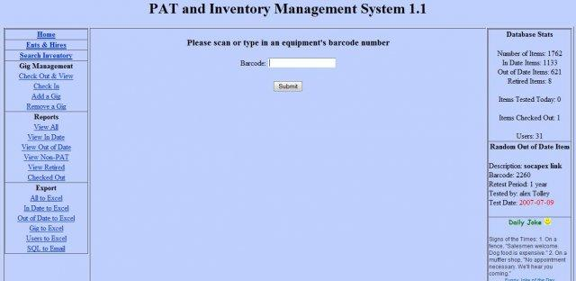 PAT and Inventory Management System