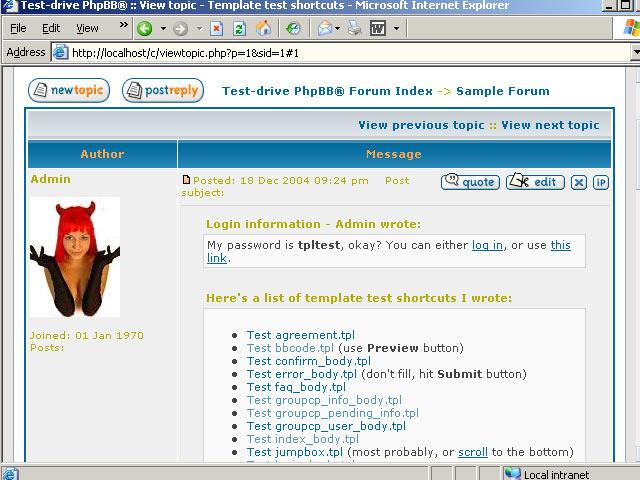 Download free phpbb template test suite by tpltest for Test suite template