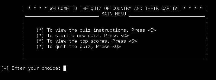The Quiz of Country and Their Capital
