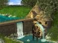 Watermill by Waterfall Wallpaper