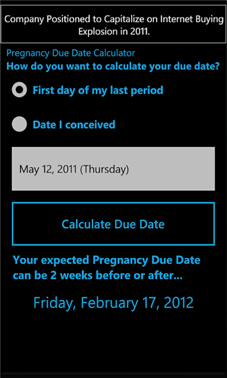Calculate pregnancy due date