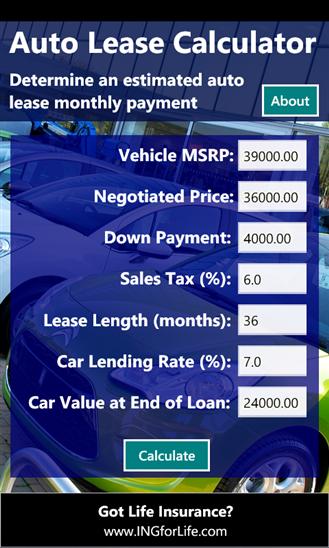 auto lease worksheet